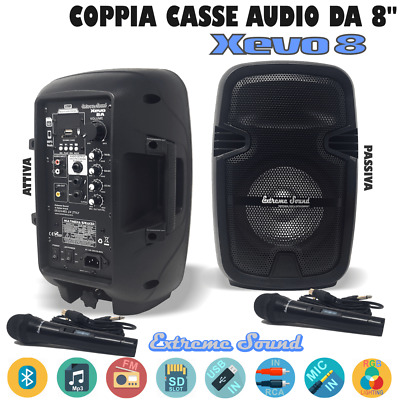 2 CASSE AUDIO AMPLIFICATE 1100 Watt EXTREME SOUND Bluetooth USB RADIO FM KARAOKE