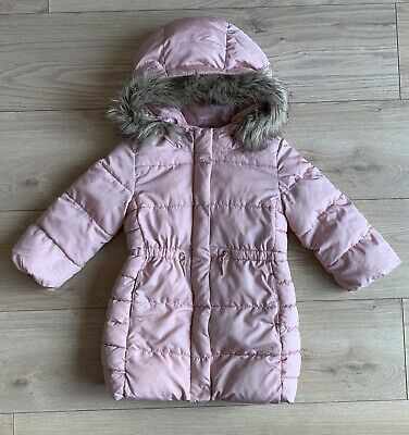 Girls GAP Pink Puffer Coat With Faux Fur Trim Hood Age 3 RRP £69