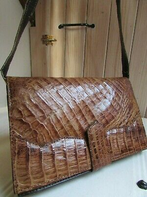 Large Stunning Vintage Real Crocodile Leather Tan Brown Shoulder Clutch Bag