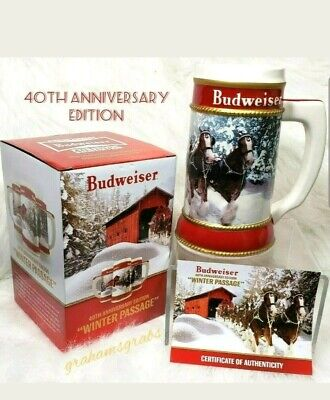2019 Budweiser Holiday Stein 40Th Anniversary Edition W/ Certificate