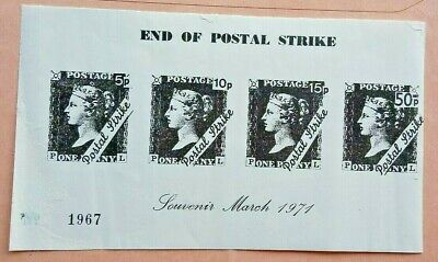 Great Britain 1971 End Of Post Office Strike Penny Black Stamp Souvenir Sheetlet
