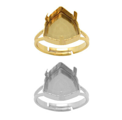 Brass Adjustable Ring Bases for 4706 Trilliant 12mm Crystals * Choose Color
