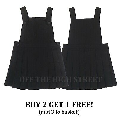 Girls Grey School Pinafore Pleated Dress School Uniform