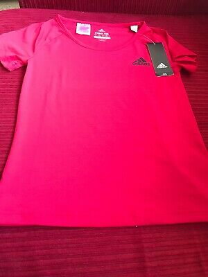 Adidas Prime Tee Girls Aged 9-10 Climalite Brand New Hot Pink