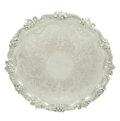 """Antique Edwardian Sterling Silver 13"""" Tray/Salver - 1910"""