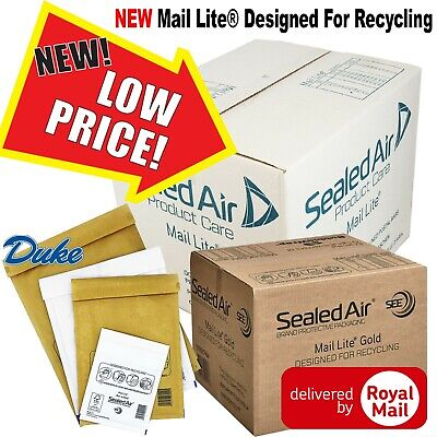 Mail Lite / Lites Padded Bags Envelopes 'All Sizes' - White & Gold Mailing Bags
