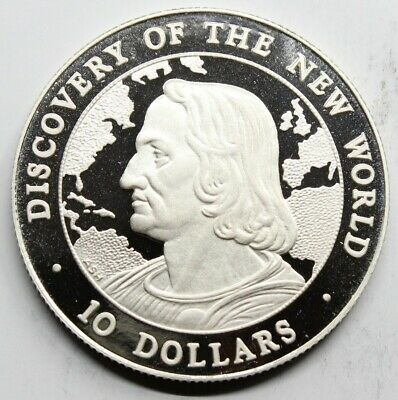 Bahamas 1990 Discovery Of The New World 10 Dollar Moneda Plata Proof