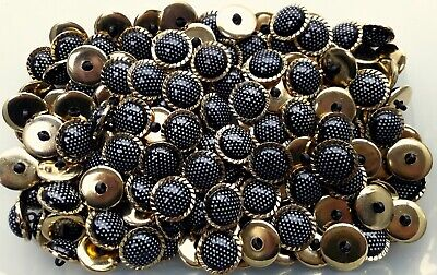 MB202 20mm 32L Gold /& Black White Polka Dot Shank Plastic Craft Button Buttons