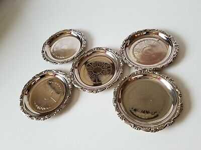 SET OF 5 Vintage Embossed Silver Plated EP On Steel Coaster - Made In Italy -