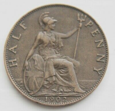 GB - Halfpenny – 1902 – Lovely Coin – AUNC – (Je1)