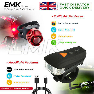 Super Bright Head & Tail Light Water Resistant Front and Back Bicycle Light Set