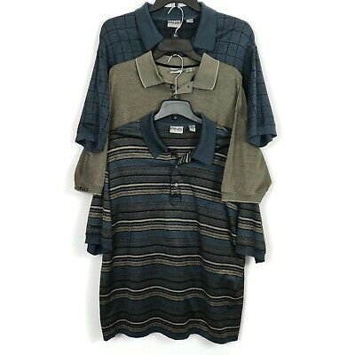 Ping Golf Polo Shirts Mens Size Large Mercerized Cotton Striped Check Lot of 3