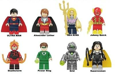 SET OF 8 Crime Syndicate DC USA SELLER MINI FIGURE MOVIE CAN PLAY WITH LEGO`S