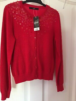 Girls age 9-10 years glittery red cardigan, ideal for the festive period