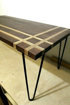 Black Walnut Hardwood & Birch Ply Coffee Table Bespoke Quality with Hairpin Legs