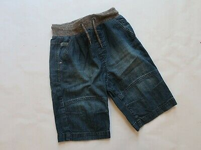 Boys kids blue denim jeans shorts ribbed elasticated waist pull-on 7-8 Years