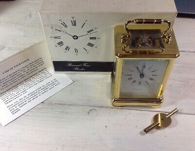 Vintage Boxed Bornard Freres Of Bicester Skeleton Brass Carriage Clock