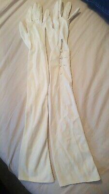 Vintage Cream Over Elbow Button Up Gloves Cornelia James Size 7 bridal.