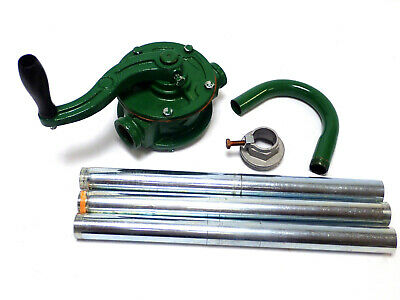 "JING MANUAL ROTARY TANK / BARREL PUMP 1"" INLET w/ DISCHARGE SPOUT & SUCTION PIPE"
