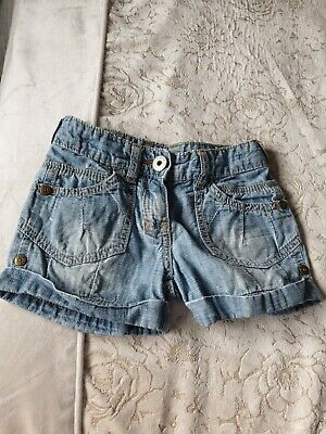 Next Girls Shorts embroidered Blue Jeans age 5 years old with adjustable waist