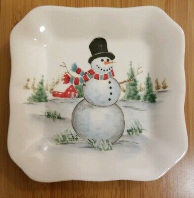 MAXCERA Set of 4 Ceramic Christmas Snowman Appetizer Dessert Plates/ Dishes, New