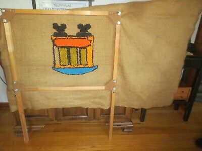 """Vtg. RUG CRAFTERS Wood TUFTING FRAME + 18"""" x 48"""" TRAIN CANVAS T-901 - Started"""