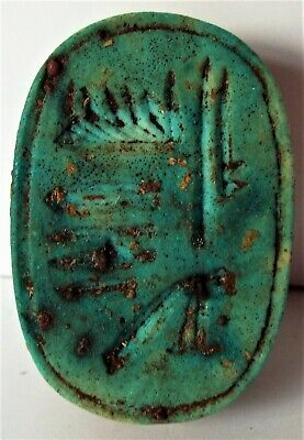 A Large Ancient Egyptian Carved & Turquoise Glazed Scarab Amulet.