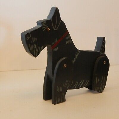 Vintage Wooden Hand Painted Scottie Dog Moveable Jointed Legs Rustic Primitive C