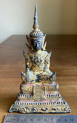 Antique 19th Century Rattanakosin Style Thai Gilt Bronze Seated Temple Buddha