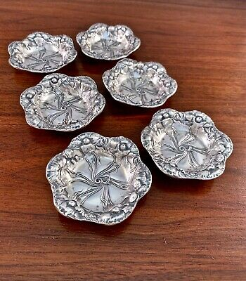 (6) American Sterling Silver Art Nouveau Floral Nut / Butter Pat Dishes: No Mono
