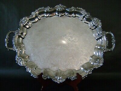 "22"" Vg Sheffield Reed Barton Silverplate Ornate Oval Handled Footed Serving Tray"