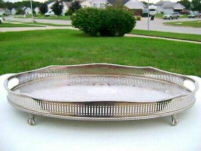 "18"" Vtg Sheffield Silver Plate Oval Ornate Handled Footed Gallery Serving Tray"