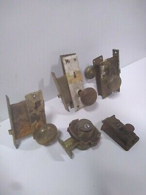 LOT of Antique Door Knobs VTG Door latchs Brass Door Knob Latch skeleton keys