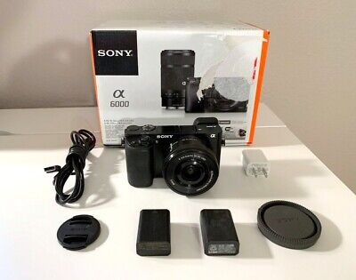 Sony Alpha a6000 Digital Camera Kit + Sony 16-50mm Lens in Box w/ 2 Batts -NICE