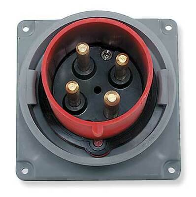 HUBBELL WIRING DEVICE-KELLEMS HBL420B7W IEC Pin and Sleeve Inlet,20A,480V,Red