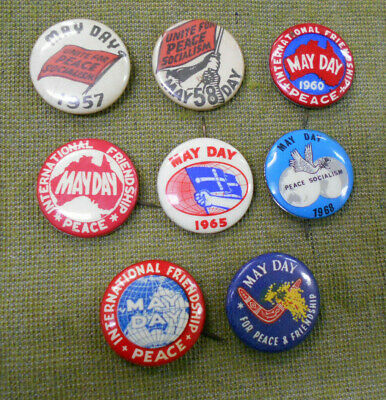 #D160.  Eight(8) May Day Tin Badges