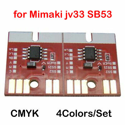 Chip Permanent CMYK for Mimaki jv33 SB53 Cartridge 4 Colors/Set Auto Reset New