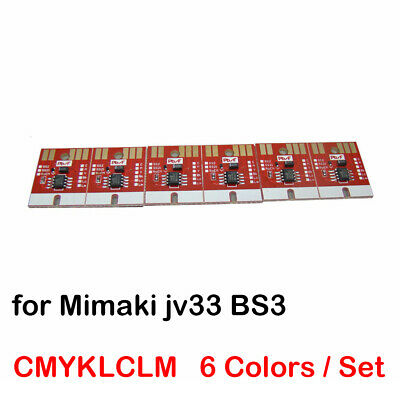 CMYKLCLM Permanent Chip for Mimaki jv33 BS3 Cartridge 6 Colors Auto Resetting