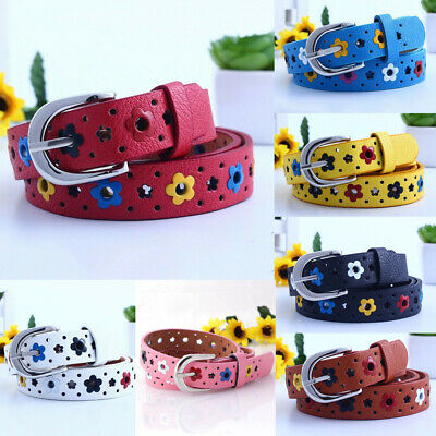 Kids Girls Candy Color PU Leather Waistband Hollow Flower Adjustable Buckle Belt