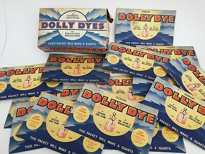 vintage DOLLY DYE complete box with individual packets, Cardboard Packet