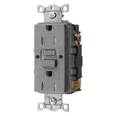 HUBBELL WIRING DEVICE-KELLEMS GFTRST15GY GFCI Rceptcle,Commer.,Gr,15A,0.5 HP