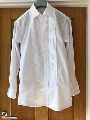 Mens Jean Yves White Pleated Formal Dress Shirt Size 15.5