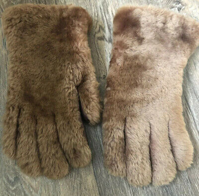 Vintage 1940s Teddy Bear Fur and Leather Gloves VGC