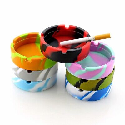 HOT Silicone Round Ashtray Heat Resistant Camo Glowing Printed Container Tool UK