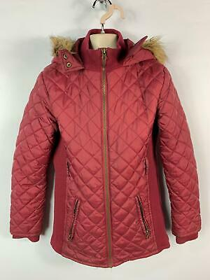 Girls F&F Burgundy Red Zip Up Diamond Quilted Coat Jacket Kids Age 11/12 Years