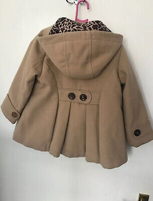Girls Camel NEXT duffle Coat, Age 2-3 Years Leopard Print detail Inside