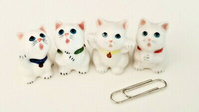 4 Miniature Cats Figurines Dollhouse Animal Ceramic Pet House Cute New Show Gift