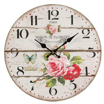 Rose Clock,Nostalgia Wall Clock with Motif in Country House Style,Vintage 28 CM