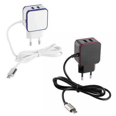 2 Ports USB Charger 5V 3.1A Wall Adapter with Micro USB Data Charging Cable h9