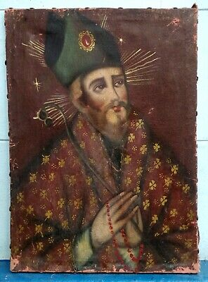Fine Antique Early 19th Century Religious Oil On Canvas painting